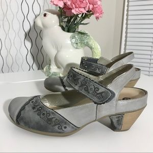 Remonte Leather Velcro Mary Jane Block Heels Grey